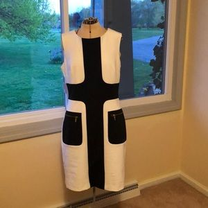 Black & white sleeveless dress